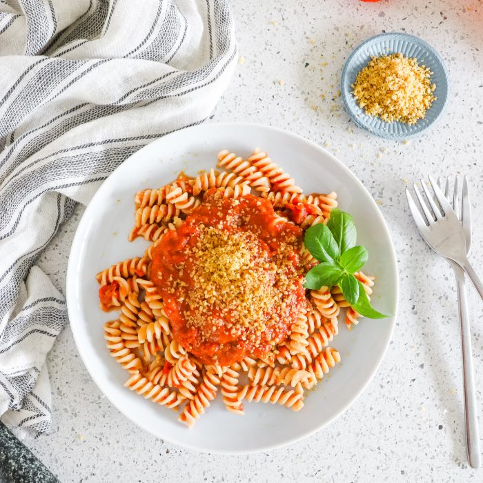 Pasta with Roast Tomato Sauce & Walnut Parmesan